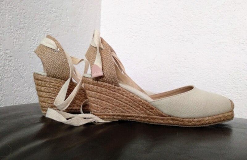 Women Ankle Strap Espadrilles Wedge Sandals 2018 Summer Canvas High Heel Fashion Lace up Women Platform Wedge Sandals Large Size (26)