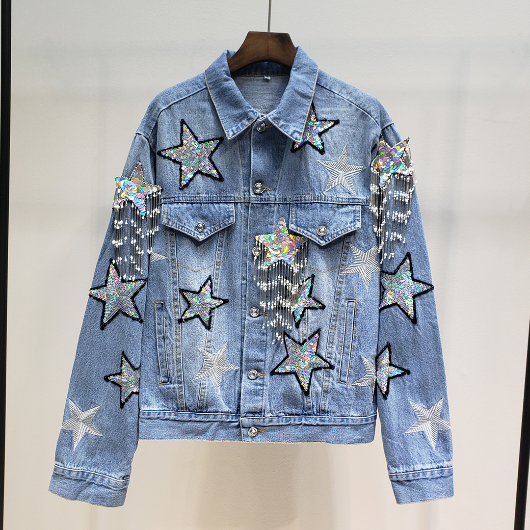 Spring Fashion Punk Denim Jackets Women Sequins Stars and Tassel Jean Jacket and Coat Streetwear Clothes