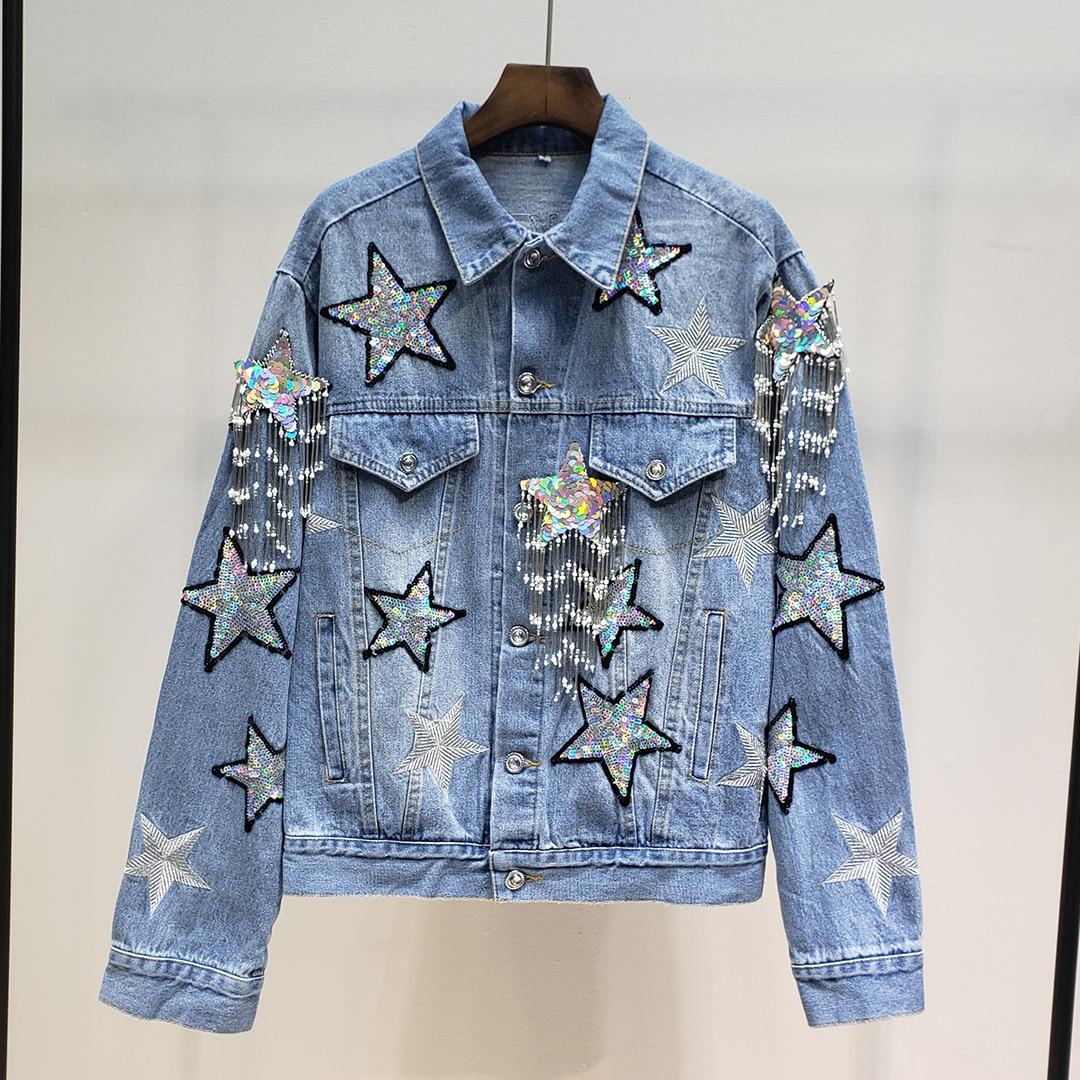 Printemps mode Punk Denim vestes femmes paillettes étoiles et gland Jean veste et manteau Streetwear vêtements
