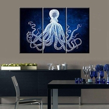 Pure Color Octopus Canvas Wall Art Print Animals Painting for Office Room Retro Cuttlefish Squid Marine Life Home Decor