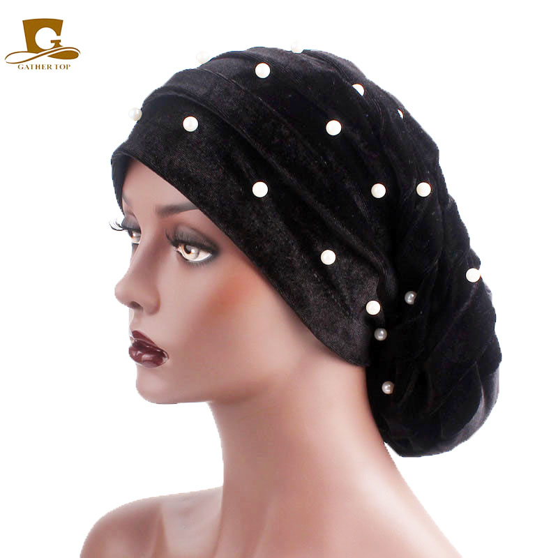 New Luxury Pearl Beaded Ruffle Baggy Hat Women Velvet Stretch Turban Cap For Hair Loss Head Scarf Wrap