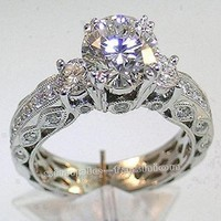 Victoria Wieck Women Engagement Jewelry Three Stone 7mm Topaz Simulated Diamond 10KT White Gold Filled Wedding