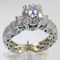 Moda Jóias Mulheres Engagement Jóias Três-pedra 7mm Cz 5A pedra Zircão 10KT White GOLD Filled Casamento Banda anel Sz 5-11