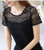 3XL Fashion 2016 Summer Women Tops Fashion Elegant Slim Short Sleeve Lace Tops Sexy Hollow Out