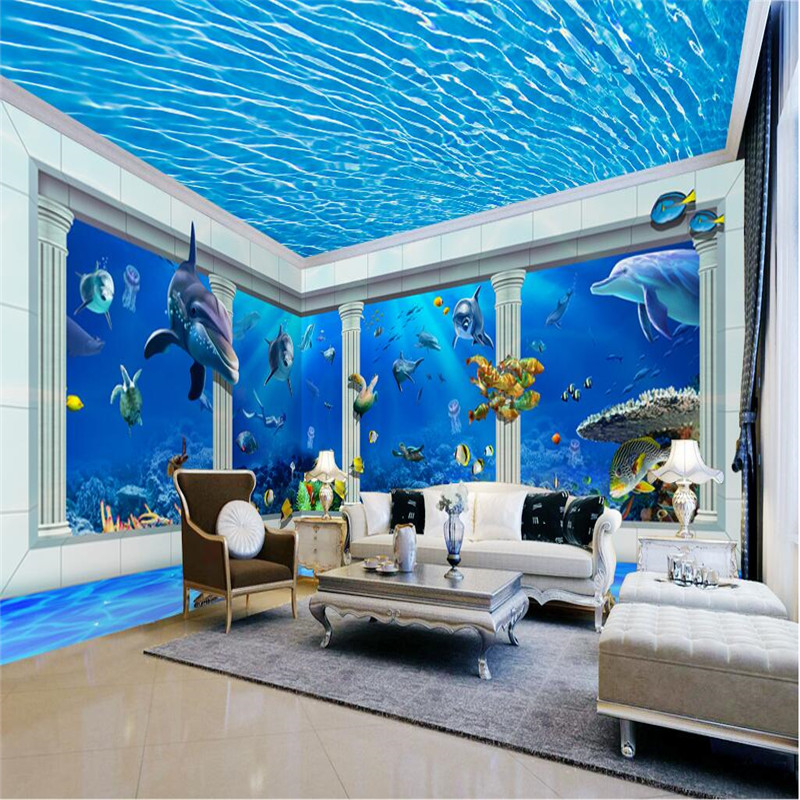 Pillar Decoration In Living Room How To Hide Types Of: Beibehang Room Wallpaper Dolphin Roman Pillar Ripples