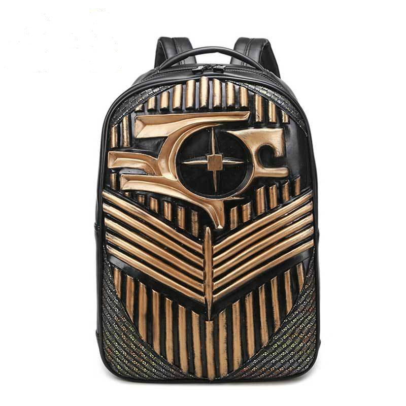 New 2018 Fashion Personality 3D pu Backpacks For Teenager Backpack Travel computer bag Cross Bags Hiphop Man School Bags Male