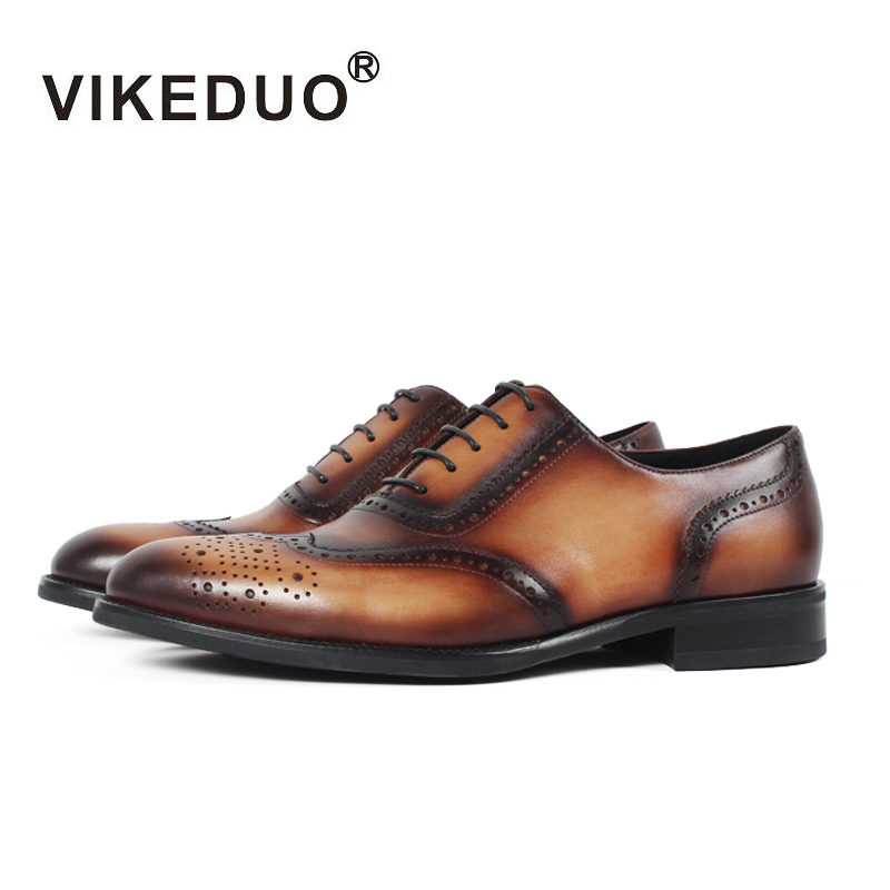 Vikeduo 2018 Handmade Italy Vintage Retro Designer Brand Wedding Party Dance Luxury Male Dress Genuine Leather Men Oxford Shoes цены онлайн