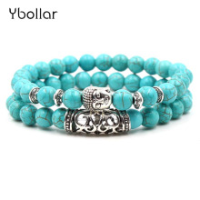 2pcs set Turquoises 8mm Beads Buddha Skull Head Owl Lion Men Bracelet Beaded Bracelets Women Antique Jewelry Gift