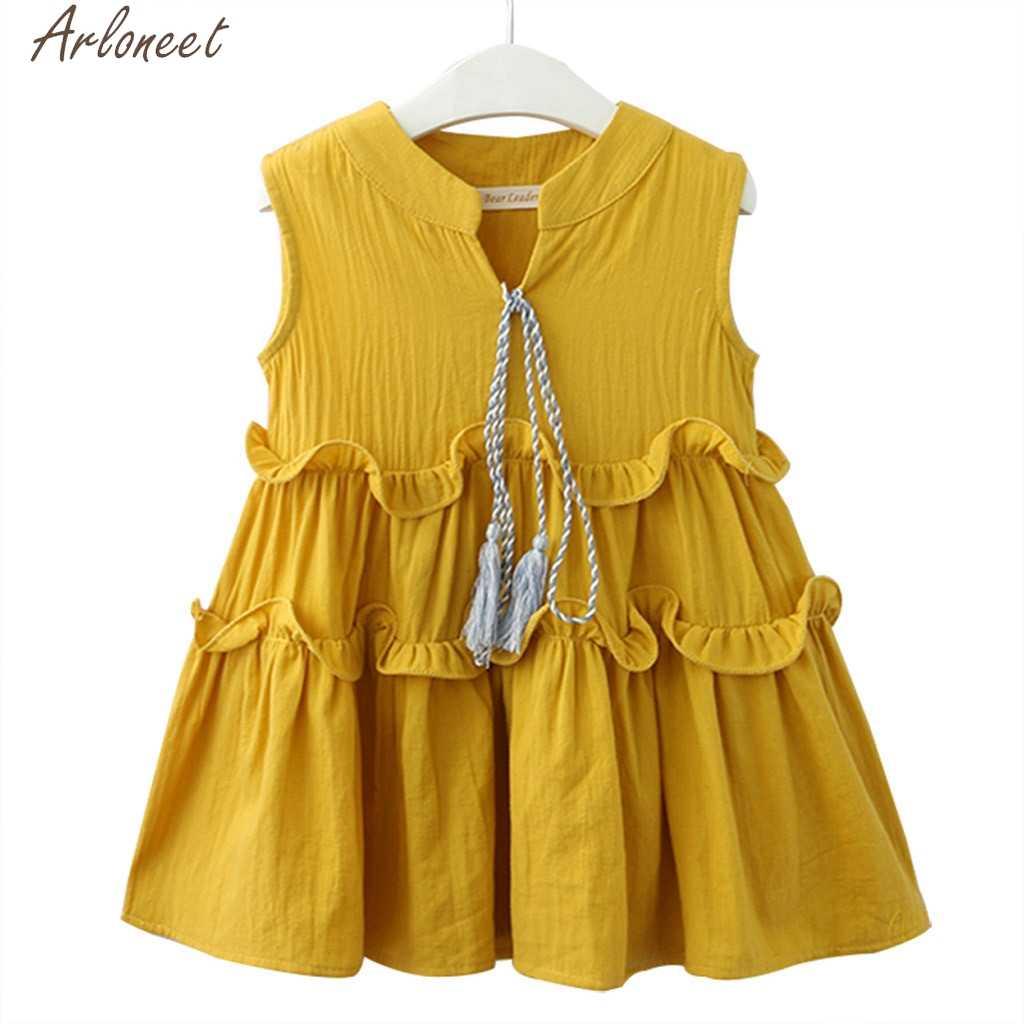 ARLONEET Criança Crianças Baby Girl Outfits Roupas Sem Mangas Ruffles vestido de Festa Vestidos de Princesa Lol 19Fer21