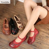 Tyawkiho Retro Shoes Women Embroidery Leather Flats Soft Bottom Low Heel Spring Shoes 2018 Genuine Leather