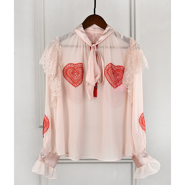 3087a17683f HIGH STREET Designer Stylish Blouse Tops Women s Long Sleeve Bow Collar  Lace Heart Embellished Blouse Shirt
