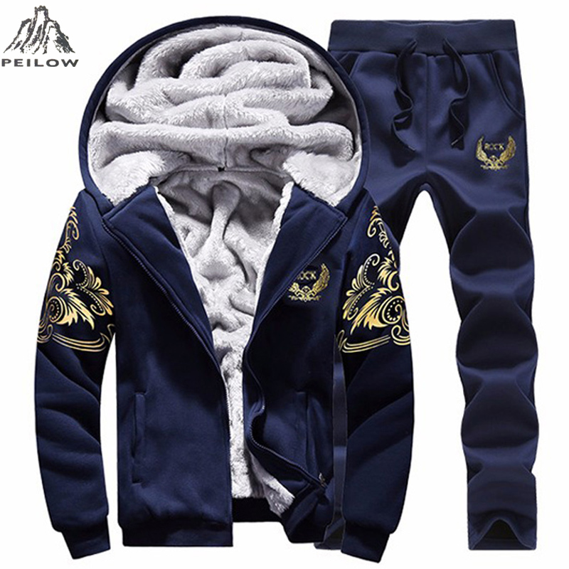 PEILOW Tracksuit Men Casual Warm men`s Sportwear Hooded Winter Thick fleece Cardigans Sets Moleton Masculino Sweatshirt Men Set ...