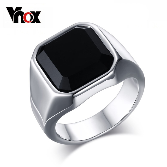 Vnox High Quality Men's Ring Black High Polished Stainless Steel Men's Jewelry S