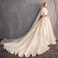 Darlingoddess Vestido De Noiva Royal Train Satin Champagne Wedding Dresses 2018 V Neck 3/4 Sleeves Lace Wedding Dress Plus Size