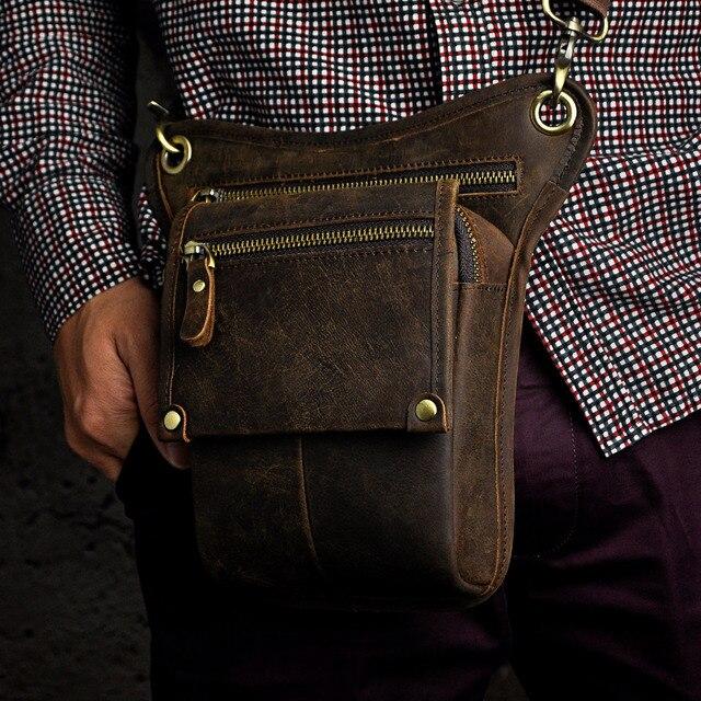 Crazy horse leather men multifunction design pequeno saco do mensageiro moda cinto de viagem pacote cintura gota perna bolsa masculino 211-4-d 6