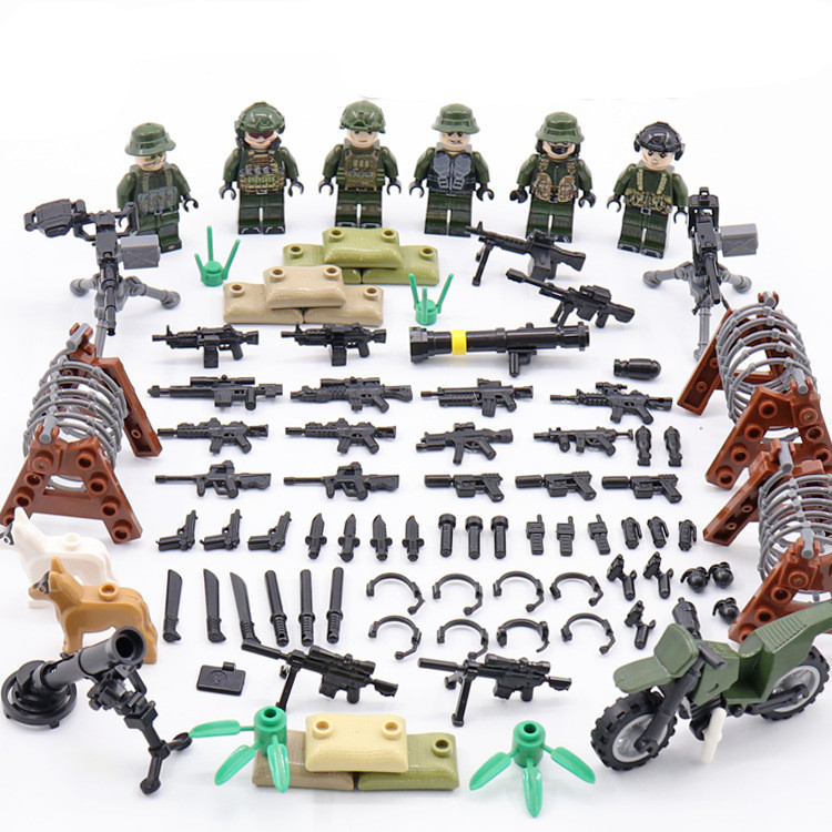 6pcs Army MILITARY Soldier Navy Seals Team Camouflage WW2 Special Forces Gun SWAT Building Blocks Bricks Figures Gifts Toys Boys 6pcs swat special forces police the wraith assault cs with motorcycles weapons figures building blocks bricks toys for kids