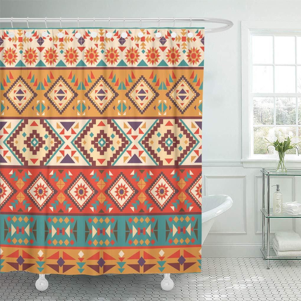 Shower Curtain Yellow Tribal Colorful Navajo Pattern