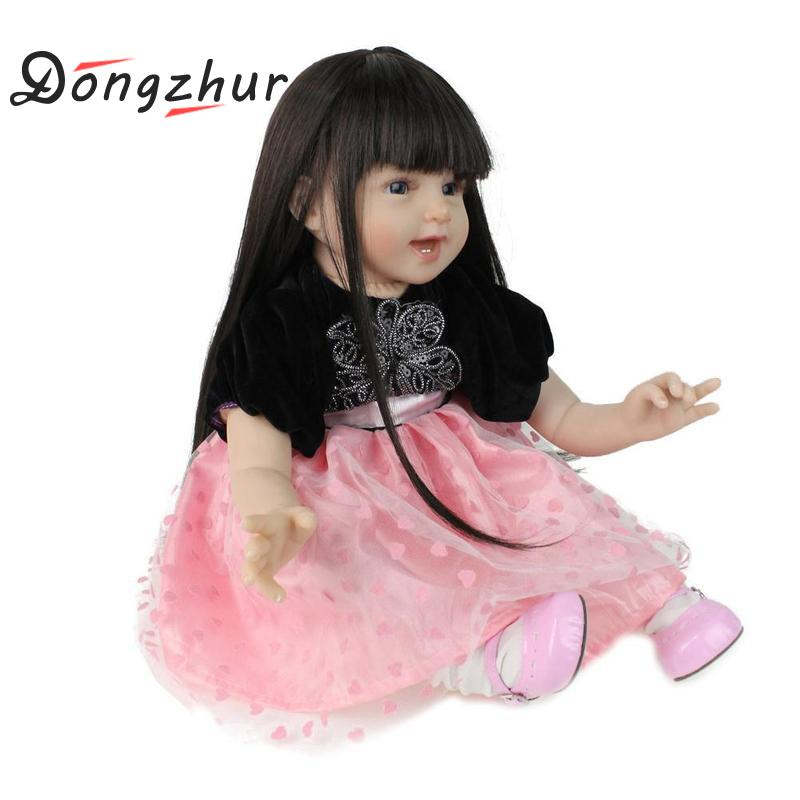 Dongzhur 55cm NPKDOLL Reborn Baby Doll Boneca Reborn Silicone Completa Doll Reborn Girl Birthday Gift Christmas Toy For Children цена