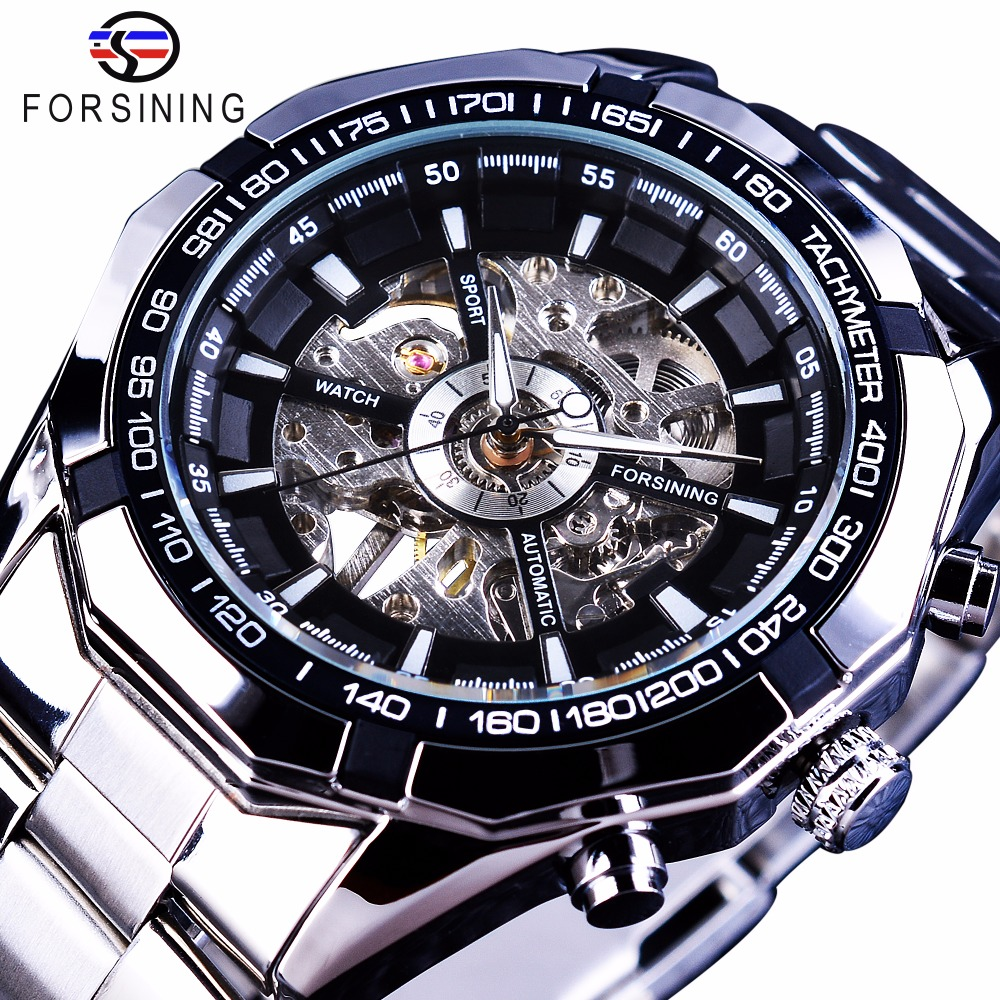 Forsining 2017 Silver Stainless Steel Waterproof Mens Skeleton Watches Top Brand Luxury Transparent Mechanical Male Wrist Watch forsining 2017 dragon series transparent silver case mens watches top brand luxury mechanical skeleton watch male wrist watches
