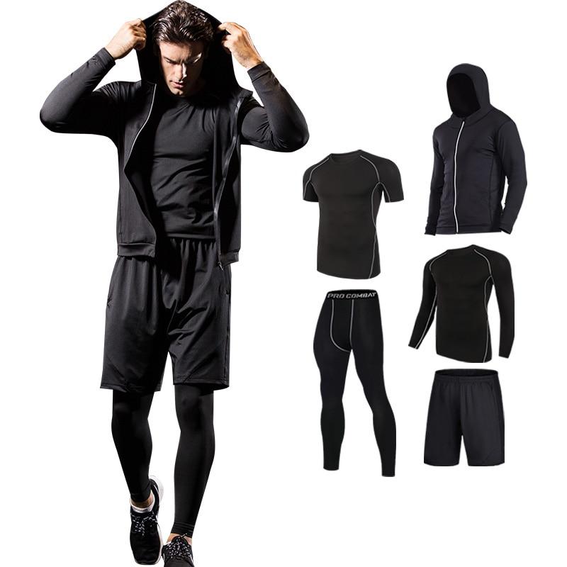 Conjunto de secado rápido para correr, mallas de compresión para baloncesto para hombre, conjuntos deportivos para correr, ropa deportiva para gimnasio, ropa deportiva para correr, Conjunto de jogging - 1