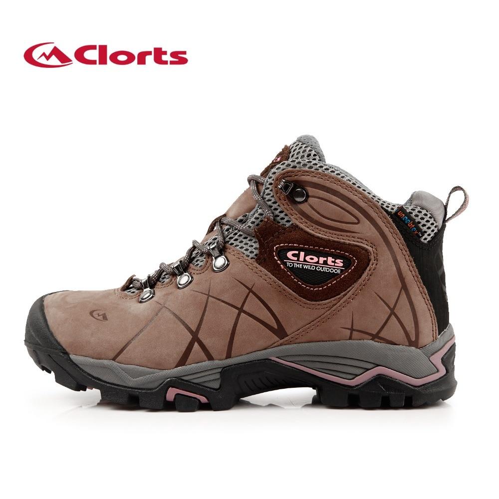 ФОТО Clorts 2016 Woman Hiking Boots Waterproof Non-slip Nubuck Leather Autumn Winter Hiking Shoes HKM-802B