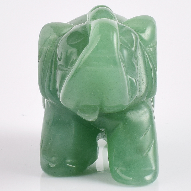 2 Inch Elephant Figurines Craft Carved Natural Stone Green Aventurine - Home Decor - Photo 4