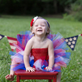 Red White Blue Baby Dress and Hair Bow Extra Fluffy 4th of July Dress For Party Costume Baby Tutu Dresses For Independence day