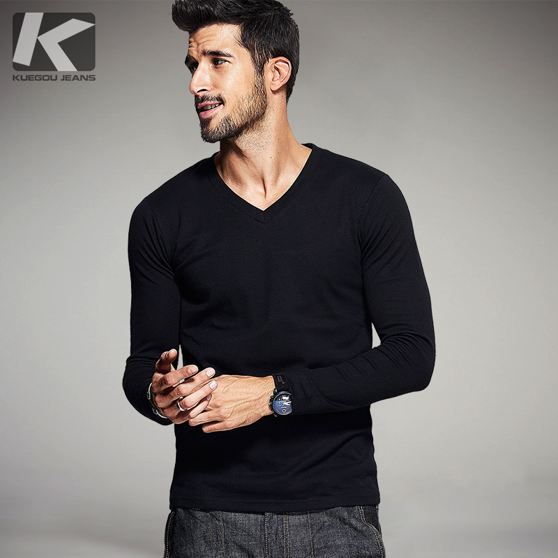 New Spring Fashion Mens Casual T-Shirts 5 Color Long Sleeve Brand Clothing Man's Slim Fit Clothes Tops Tees Plus Size 802