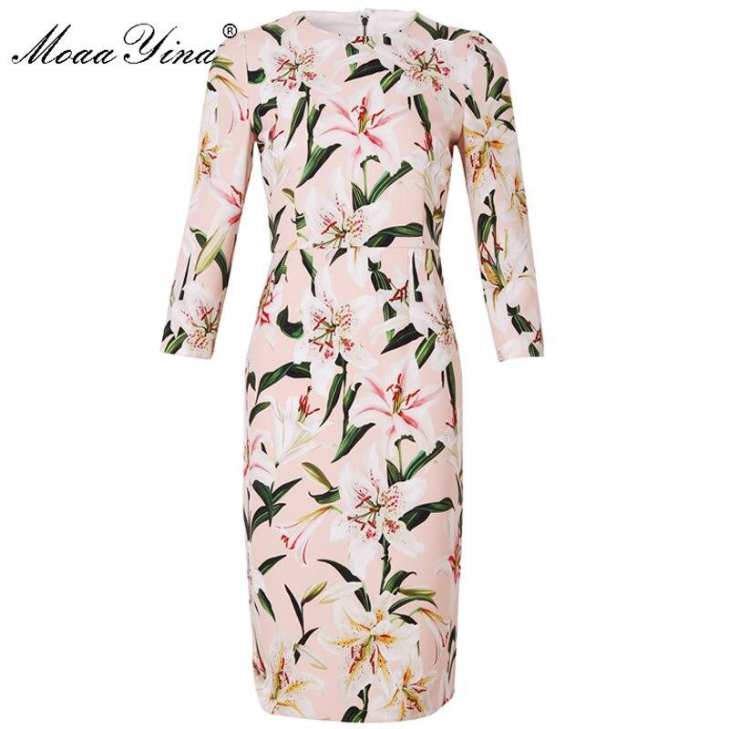 Moaa Yina ファッションデザイナー滑走路ドレス春夏の女性は長袖ユリ花柄エレガントなスリムドレス  グループ上の レディース衣服 からの ドレス の中 1
