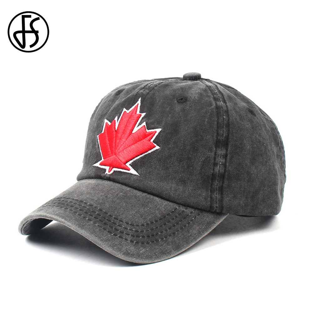FS Cotton Summer   Baseball     Cap   For Men Women Canada Maple Leaf Embroidery Custom Snapback Hat Black Dad Hombre Gorras Casquette