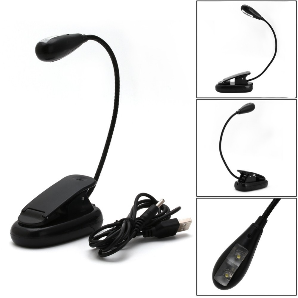 Flexible Single Arm Clip On Light 2 LED Lamp For Book Reading Tablet Laptop NEW