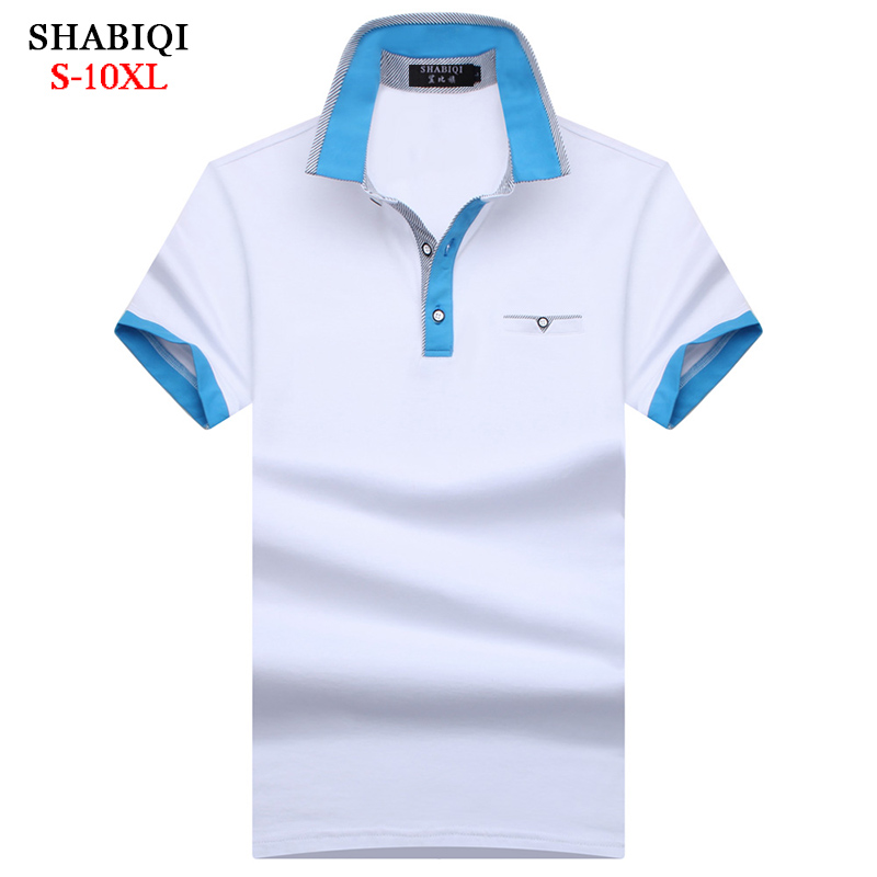 SHABIQI NEW 2019 Brand Men Shirt Men Polo Shirt Men Short Sleeve Pocket Models Polos Shirt  Plus Size 5XL 6XL 7XL 8XL 9XL 10XL