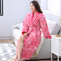 Brand Winter Warm Nightgown Bath Robe Women Robe Female Floral Bathrobe Quilted Pajamas Mujer Thick Spa Robe Shower Sleepwear