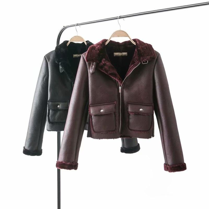 Hot New 2019 Faux Sheepskin Shearling Winter Coat Women Black Wine Red Warm Motorcycle Street Soft Lamb Fur Women Jacket   leather