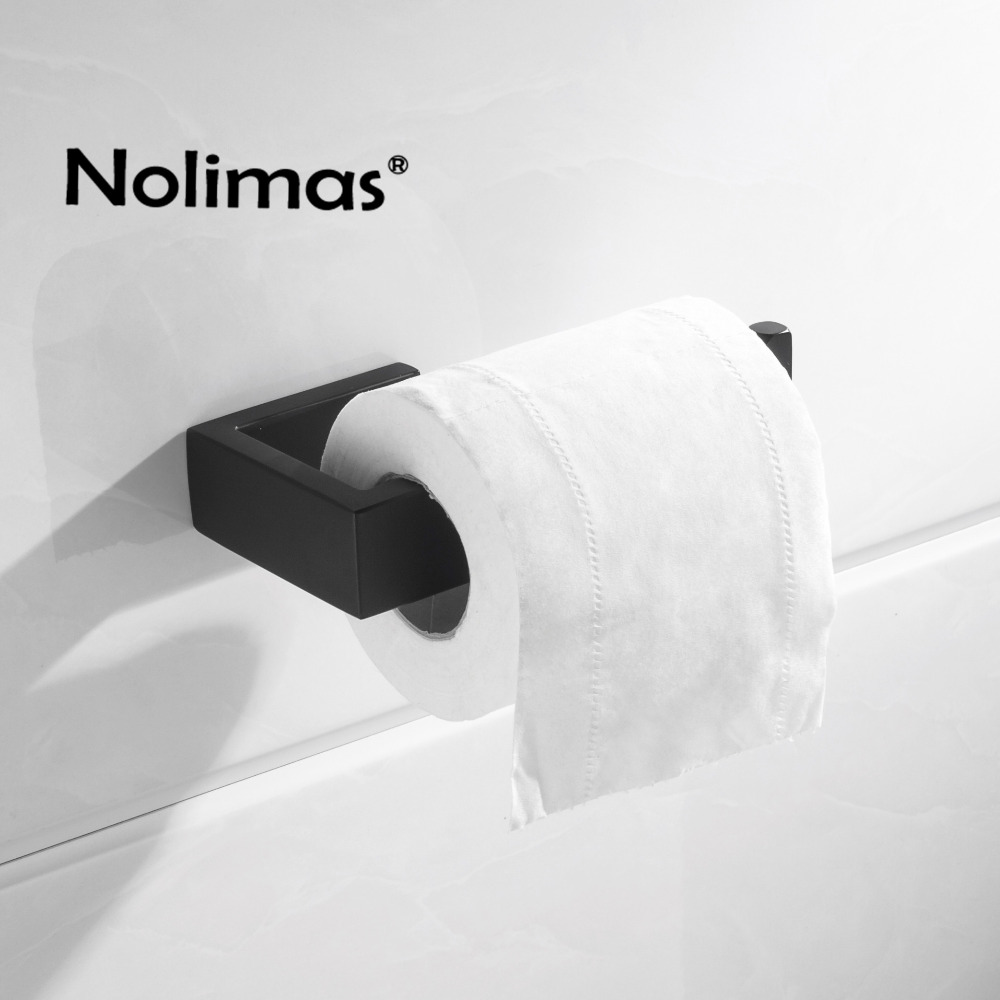 Sus 304 Stainless Steel Matte Black Toilet Paper Holder Bathroom For Roll Towel Square Accessories