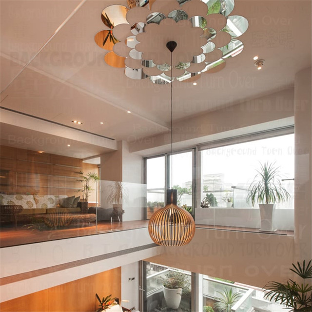 24pcs/set Lace Design Round Acrylic Ceiling Stickers Mirror Decoration Home  Decor Bedroom/Living