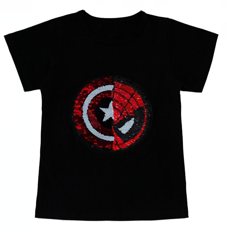 6c68e0d6bc Boys Tee Shirt Summer Spiderman Captain Heart Flipped Sequin Boys ...