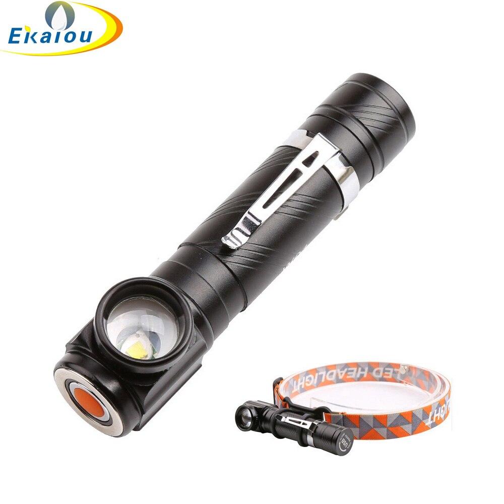 New 2 In1 1000 Lumen XM-T6 USB LED Headlight Flashlight Torch Camping 18650 Battery Headlamp