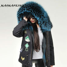 MAOMAOKONG Winter parka Women  Fur Jackets Slim Thick Plus Size Real Raccoon Fur Hooded Coats Fox Fur Lining Outwear Top Quality