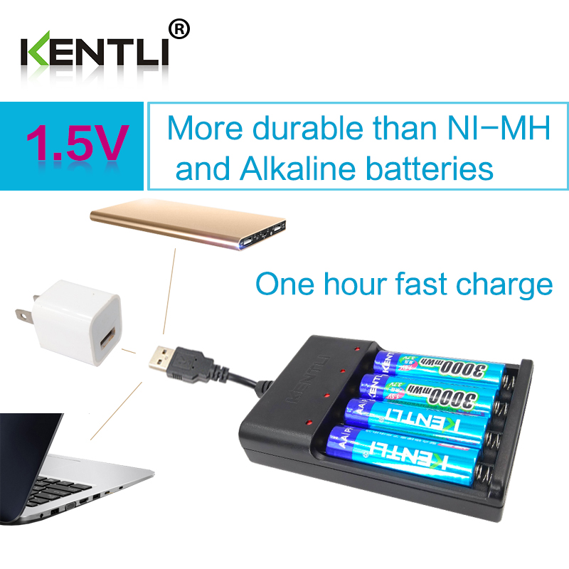 Kentli 4pcs Aa 1 5v 3000mwh Lithium Li Ion Rechargeable