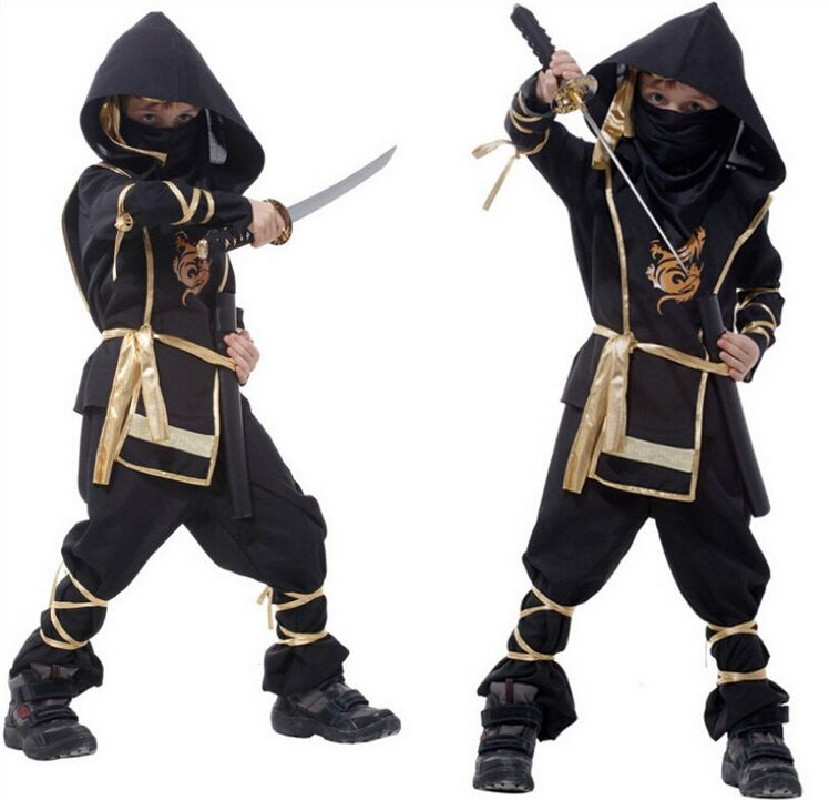 cagiplay super handsome black ninja warrior costumes kids halloween party cosplay costume party game performance clothing - Halloween Kid Games Online