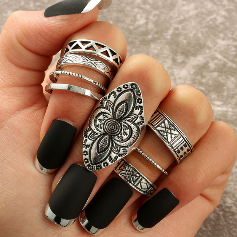 Tocona Bohemia Antique Silver Rings Classic Pattern Flower Carving RING WOMEN Tribal Knuckle Ring Set Jewelry 8pcs/set 3449