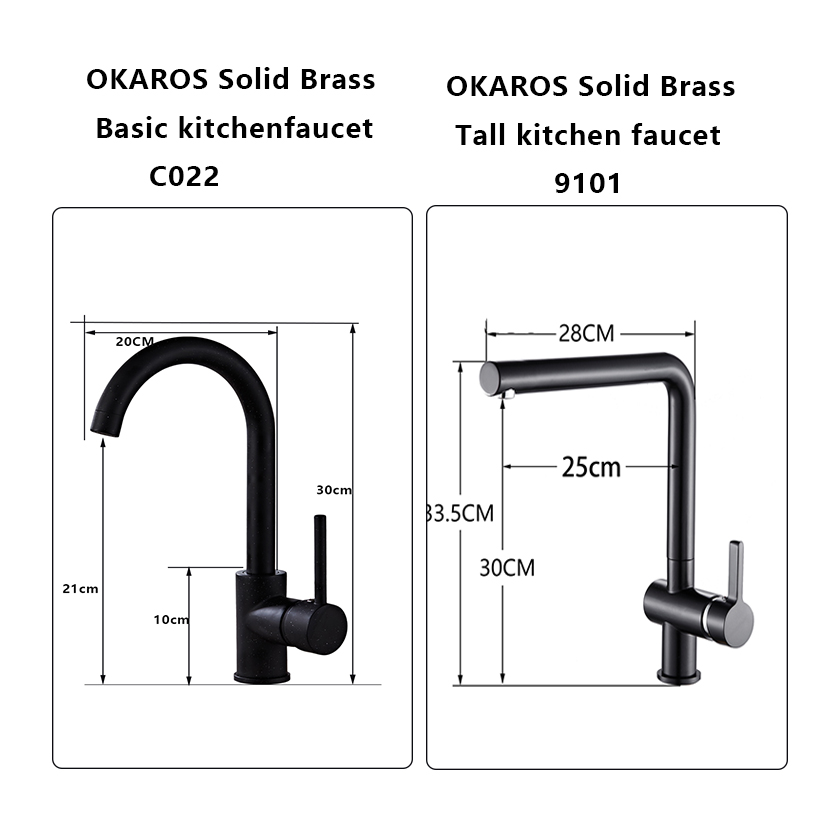 Image 5 - OKAROS Brass Kitchen Faucet Black Brass Faucet 360 Degree Swivel Single Handle Vessel Sink Vintage Kitchen Mixer Tap Torneira-in Kitchen Faucets from Home Improvement