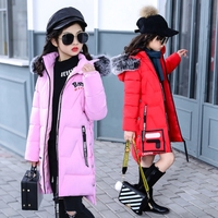 Fashion Teenager Girls Coat Winter Long Sleeve Cotton Padded Hooded Jacket Fur Collar Girls Windbreaker 7 14T TZ377