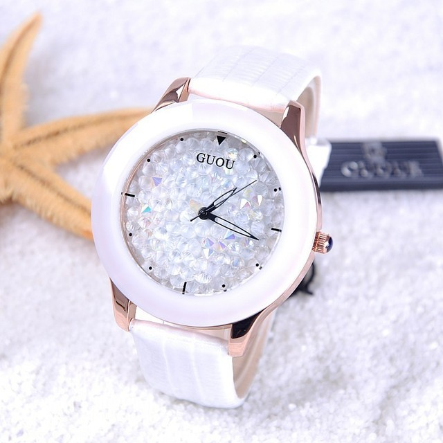 GUOU Ladies Watch Rhinestone Women's Watches Leather Straps Rhinestone Starry Sky women watches clock reloj mujer montre femme 4