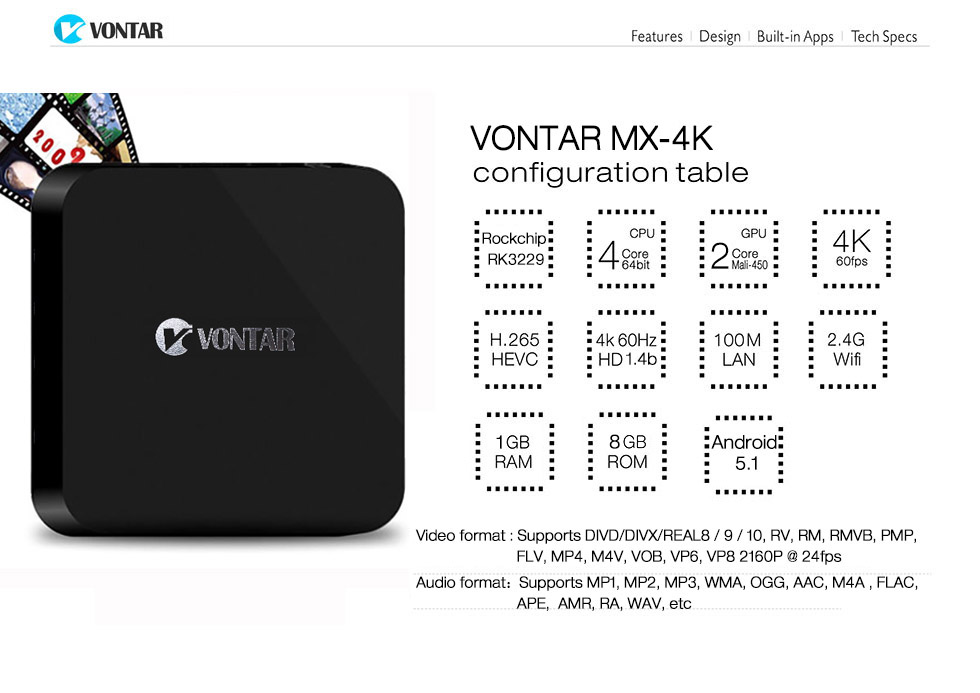 [Genuine] VONTAR MX 4K RK3229 Quad Core Android 5 1 TV Box mx 4k 1GB/8GB  2 4G Wifi KODI Support 4K HDMI2 0 H 265-in Set-top Boxes from Consumer