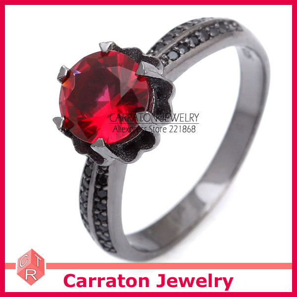 Carraton RSQD1084 Red Cystal in Flower Torus Black Overlay Solid 925 Silver Ring