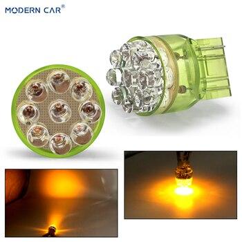 MODERN CAR 1pcs T20 7443 LED Car Tail Bulb Brake Lights Auto Reverse Lamp Daytime Running Light 9SMD Yellow 12V DRL Turn Signal цена 2017