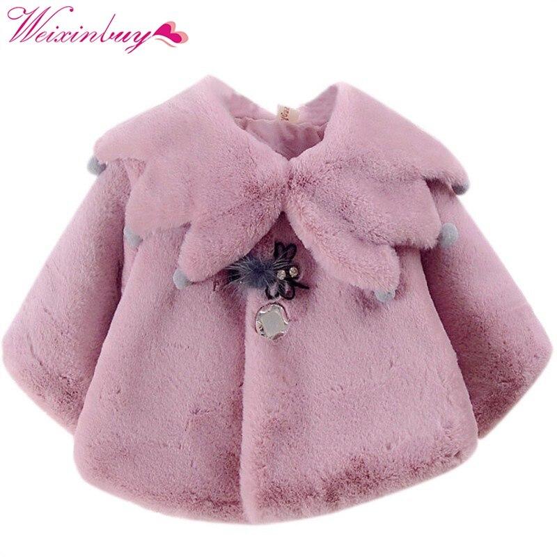 2017 Autumn Sweet Baby Girls Cute Style Princess Warm Party Snow Wear Kids Cloak Outerwear