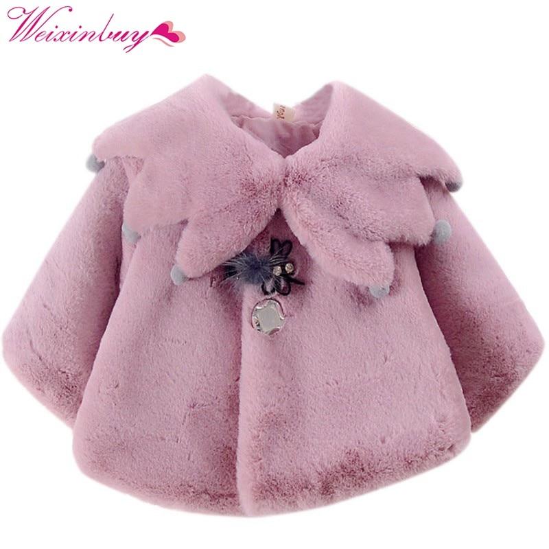 2017 Herfst Zoete Baby Meisjes Leuke Stijl Prinses Warm Party Sneeuw Dragen Kids Mantel Bovenkleding Aangenaam Om Te Proeven